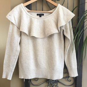 Banana Republic Ruffle Cream Long Sleeve Sweater